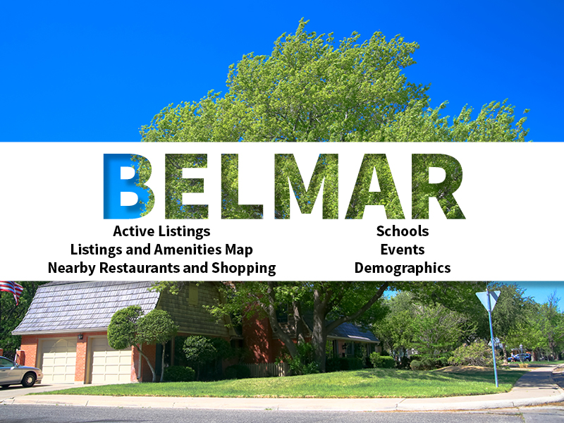 Belmar Real Estate Neighborhood in Amarillo page featuring neighborhood description, amenities and listings map, nearby restaurants, shopping, events and schools, and neighborhood demographics
