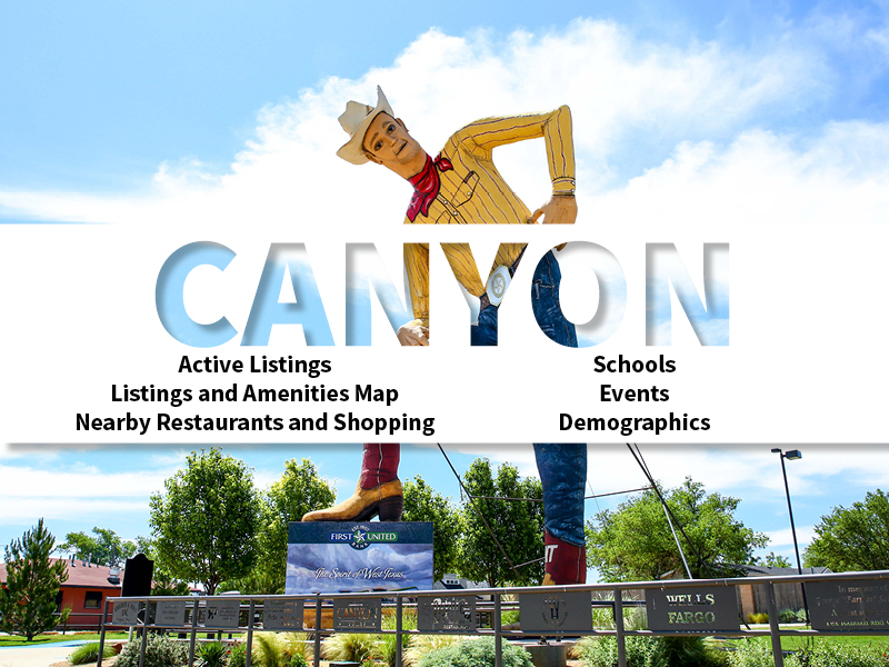 Canyon Real Estate Neighborhoods page featuring neighborhood description, amenities and listings map, nearby restaurants, shopping, events and schools, and neighborhood demographics