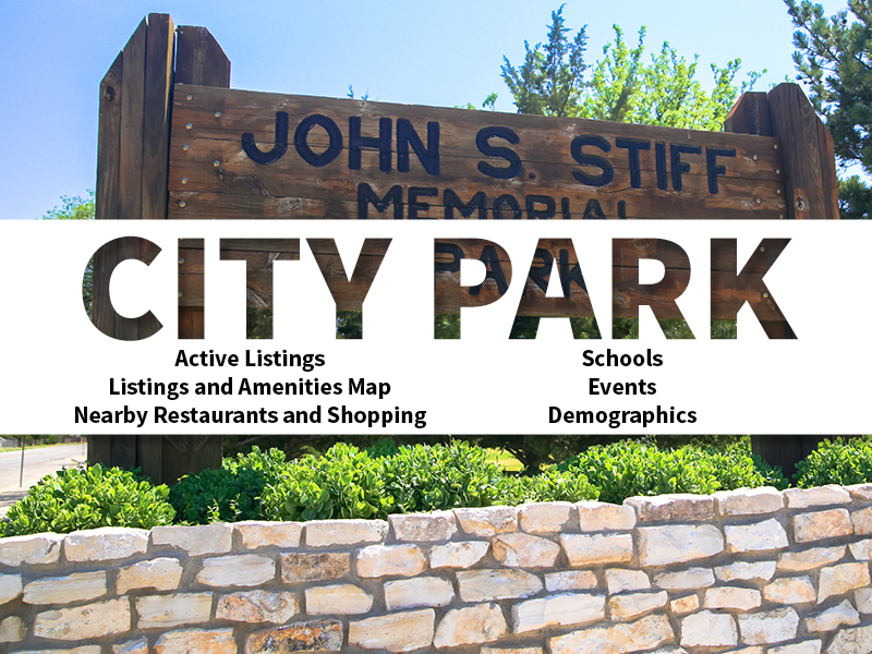 City Park Real Estate Neighborhood in Amarillo page featuring neighborhood description, amenities and listings map, nearby restaurants, shopping, events and schools, and neighborhood demographics