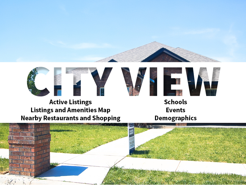 City View Real Estate Neighborhood in Amarillo page featuring neighborhood description, amenities and listings map, nearby restaurants, shopping, events and schools, and neighborhood demographics
