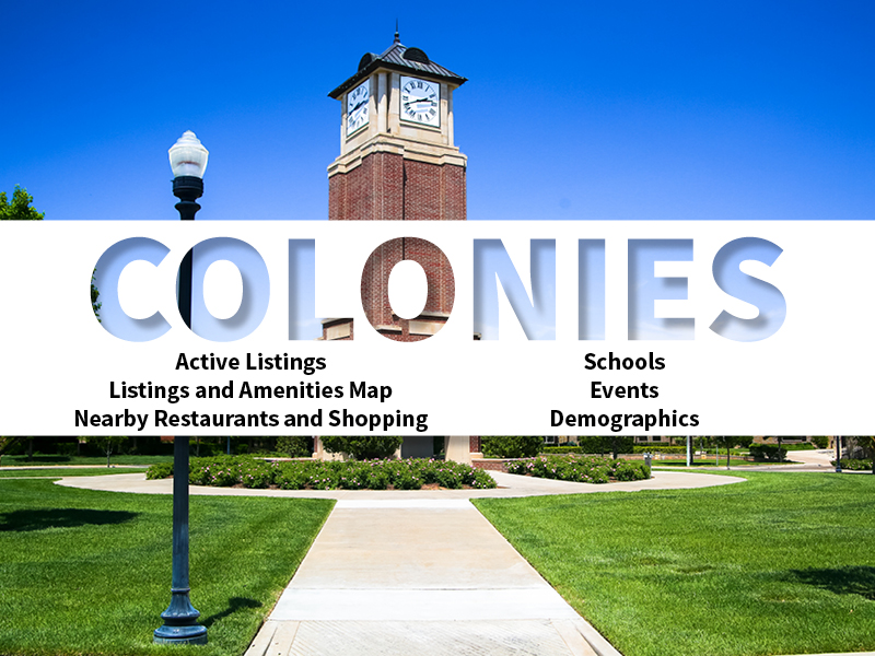 Colonies Real Estate Neighborhood in Amarillo page featuring neighborhood description, amenities and listings map, nearby restaurants, shopping, events and schools, and neighborhood demographics