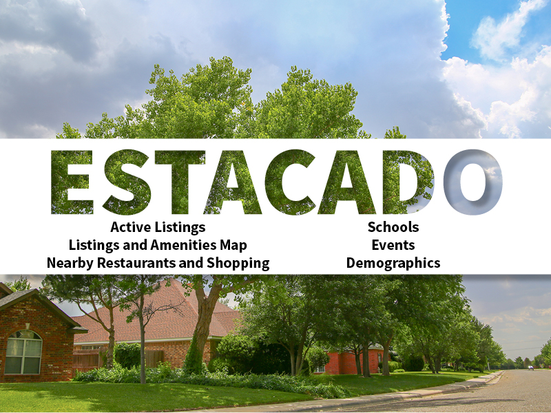 Estacado Real Estate Neighborhood in Amarillo page featuring neighborhood description, amenities and listings map, nearby restaurants, shopping, events and schools, and neighborhood demographics
