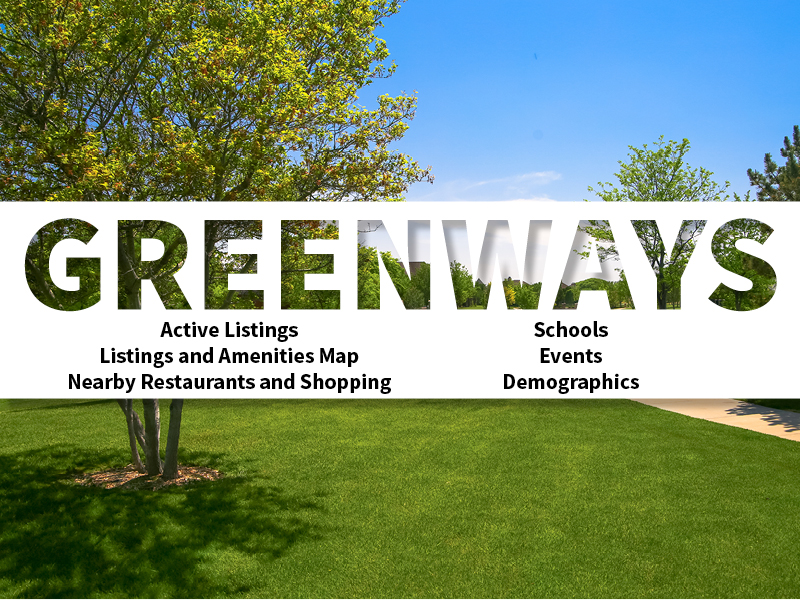 Greenways Real Estate Neighborhood in Amarillo page featuring neighborhood description, amenities and listings map, nearby restaurants, shopping, events and schools, and neighborhood demographics