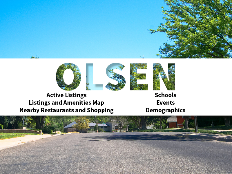 Olsen Real Estate Neighborhood in Amarillo page featuring neighborhood description, amenities and listings map, nearby restaurants, shopping, events and schools, and neighborhood demographics