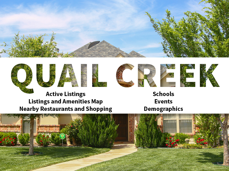 Quail Creek Real Estate Neighborhood in Amarillo page featuring neighborhood description, amenities and listings map, nearby restaurants, shopping, events and schools, and neighborhood demographics