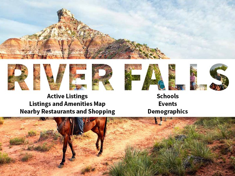 River Falls Real Estate Neighborhood in Amarillo page featuring neighborhood description, amenities and listings map, nearby restaurants, shopping, events and schools, and neighborhood demographics