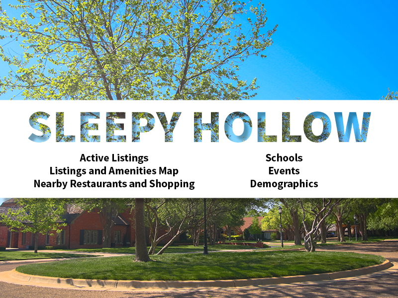 Sleepy Hollow Real Estate Neighborhood in Amarillo page featuring neighborhood description, amenities and listings map, nearby restaurants, shopping, events and schools, and neighborhood demographics