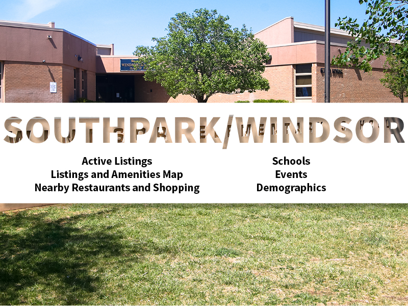 Southpark Windsor Real Estate Neighborhood in Amarillo page featuring neighborhood description, amenities and listings map, nearby restaurants, shopping, events and schools, and neighborhood demographics