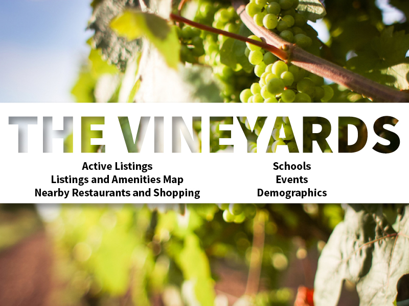 The Vineyards Real Estate Neighborhood in Amarillo page featuring neighborhood description, amenities and listings map, nearby restaurants, shopping, events and schools, and neighborhood demographics
