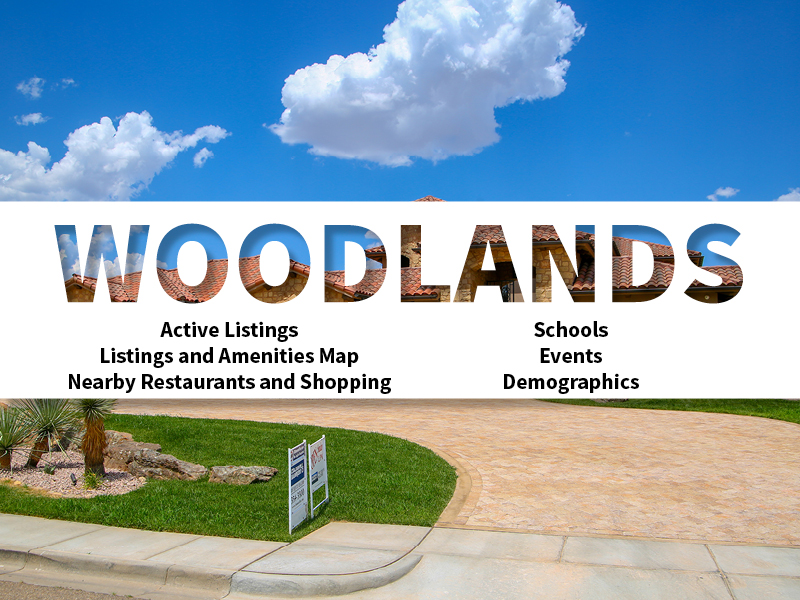 Woodlands Real Estate Neighborhood in Amarillo page featuring neighborhood description, amenities and listings map, nearby restaurants, shopping, events and schools, and neighborhood demographics